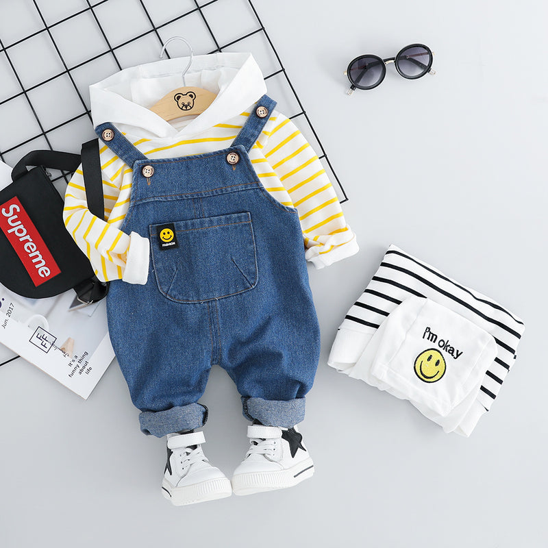 Striped Hooded Tshirt And Denim Dungaree Set