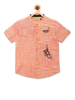 Orange Khadi Monkey Shirt