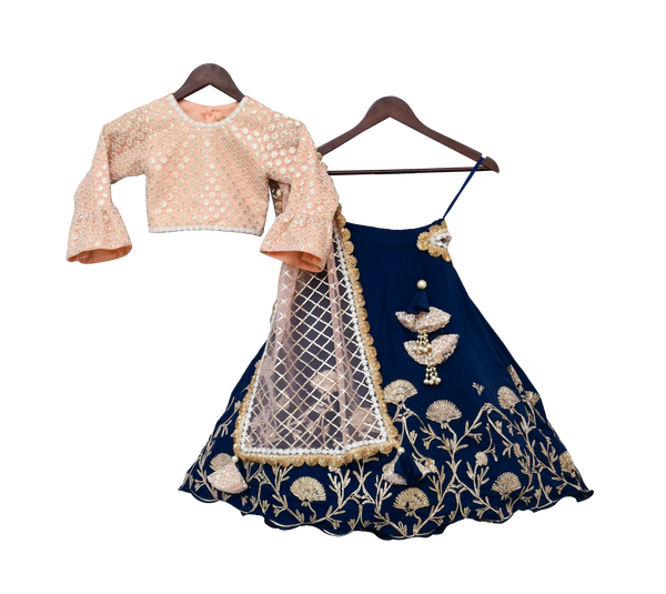 Peach Embroidery Choli with Blue Gota Lehenga & Gota work Dupatta