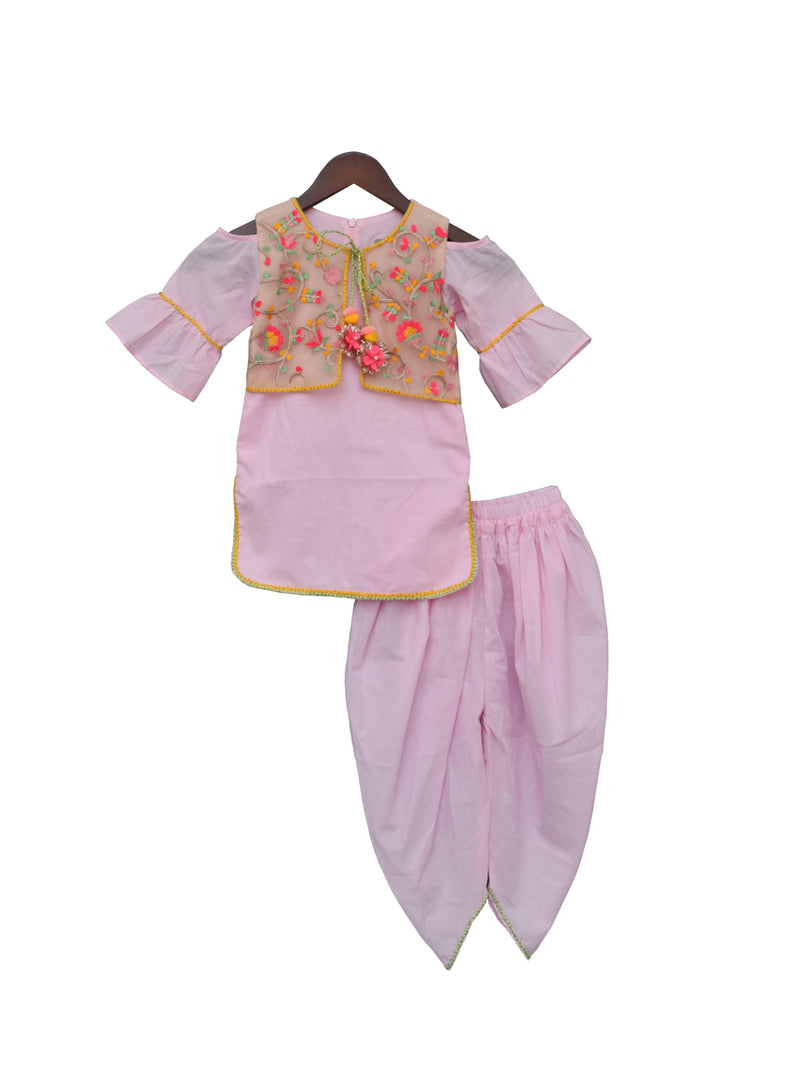 Pink Kurti and Dhoti with Embroidery Jacket