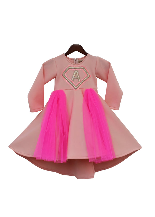 Pink Neoprene Frock with Hot Pink net and Initial