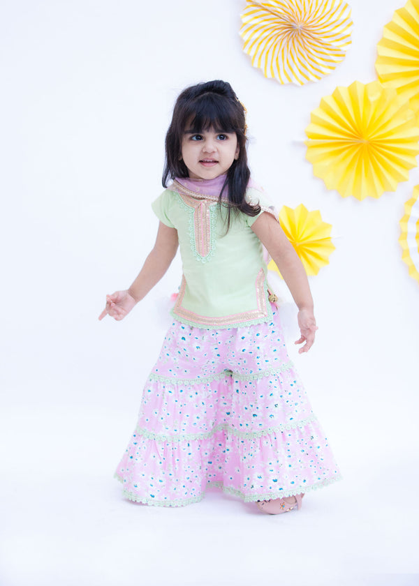 Pista Green Kurti with Pink Printed Sharara