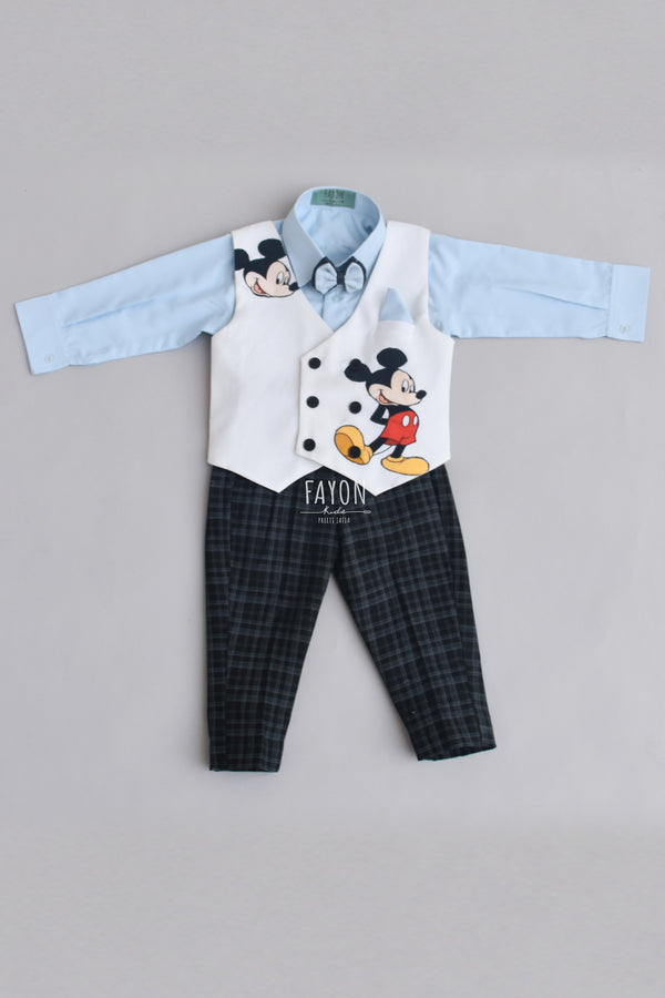 Powder Blue Shirt with Black Check Pant & White Micky Mouse Print Waist Coat Sale