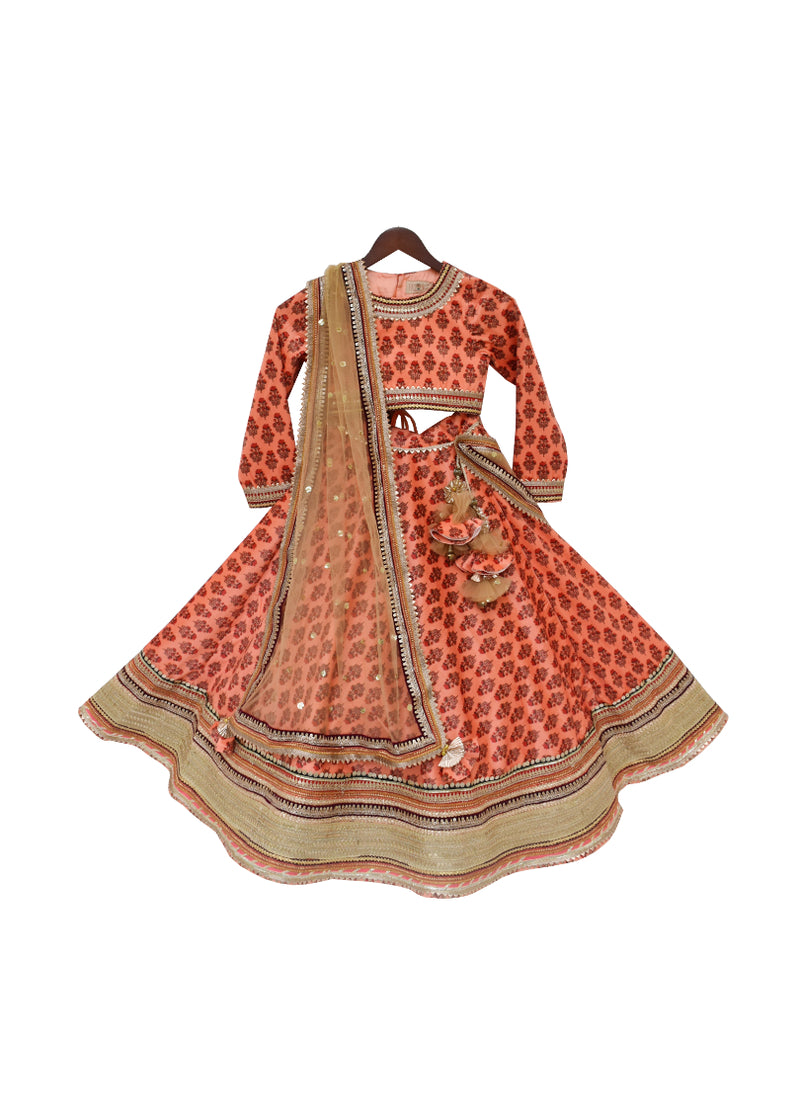 Printed Velvet Lehenga Choli with Golden Dupatta
