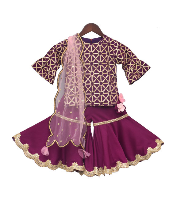 Purple Gota Kurti with Sharara
