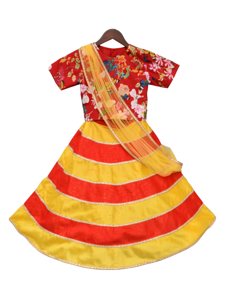Red Printed Choli with Yellow and Red Poly Silk Lehenga