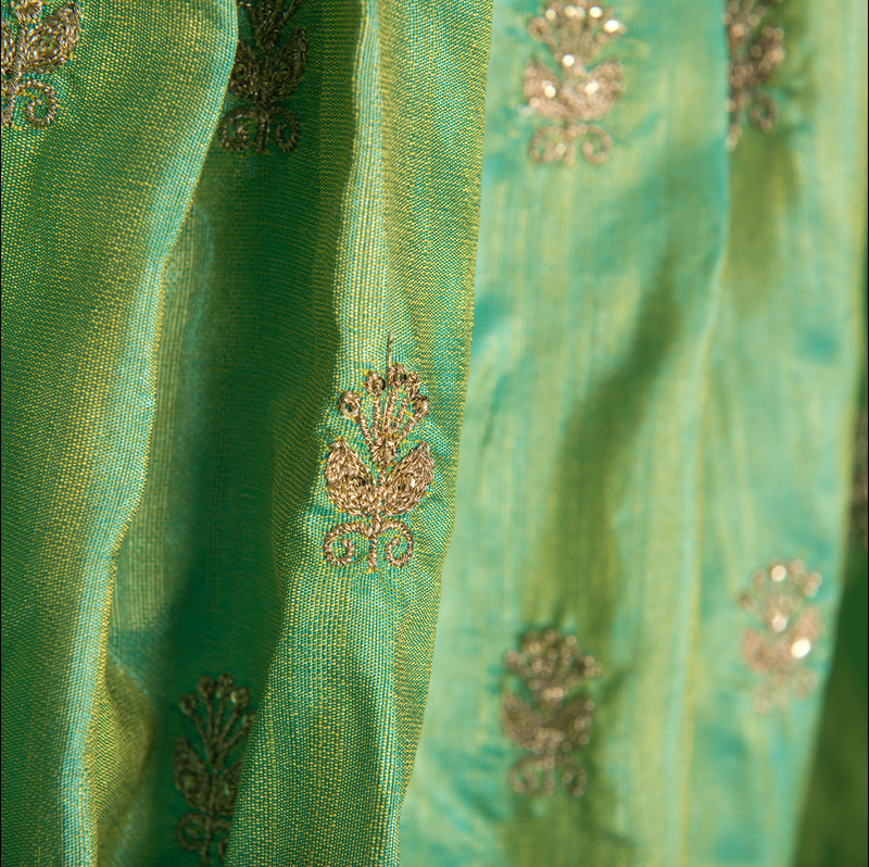 Yellow Chiffon Frill Top With Green Embroidered Lehenga