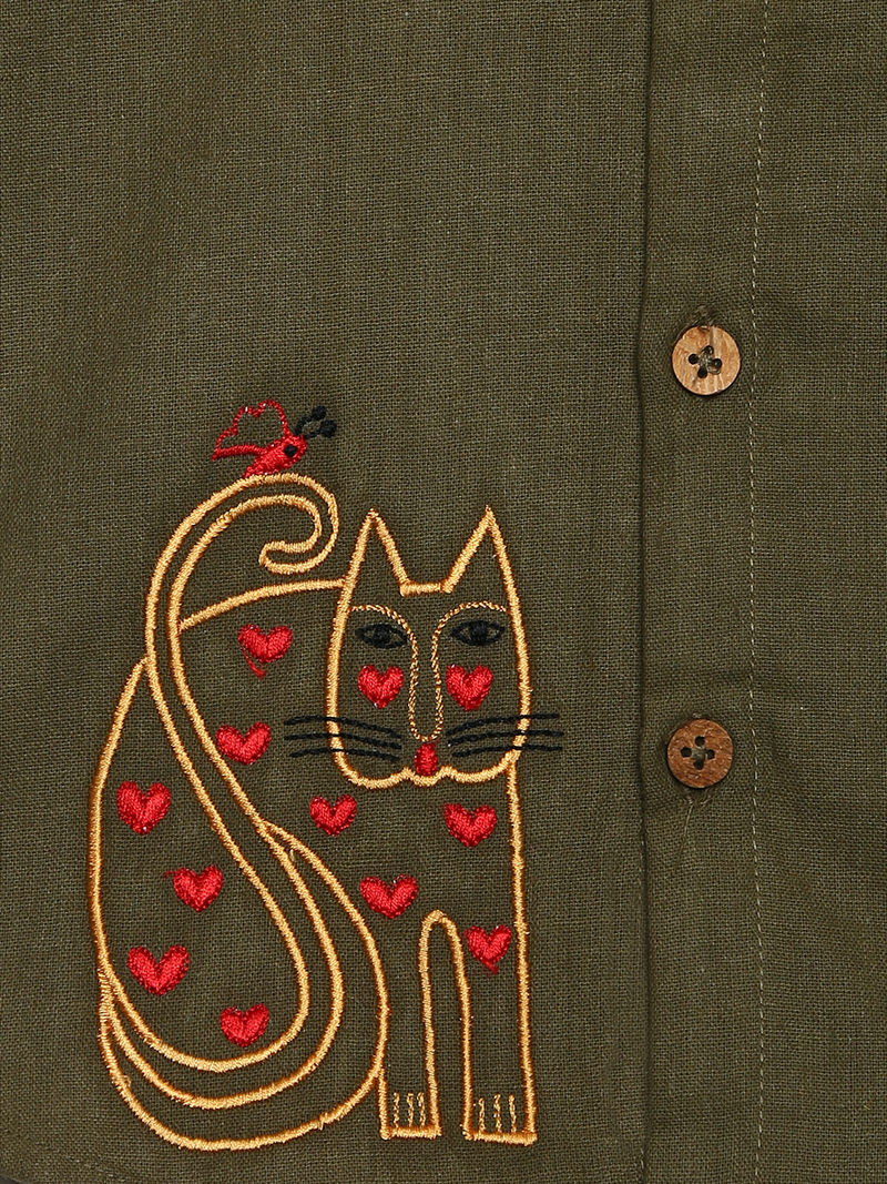 Olive Butterfly Cat Shirt