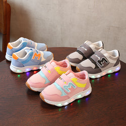 Sports LED Shoes With Velcro For Kids