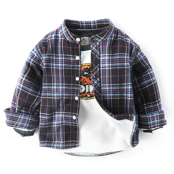 Checks Winter Shirt With Mandarin Collar