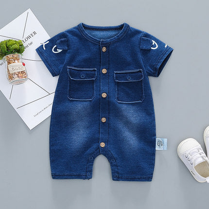 Dark Denim Baby Romper