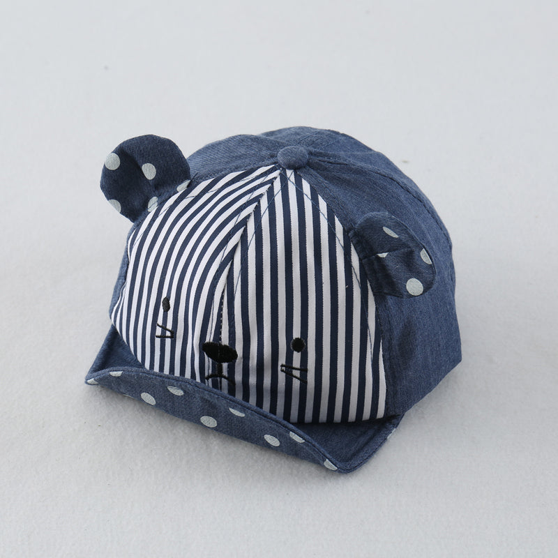 Cat Printed Half Striped Cap