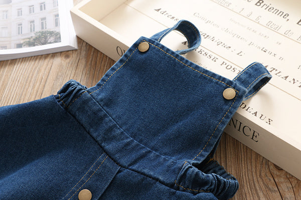 Denim Overall Dress With Tshirt For Girls