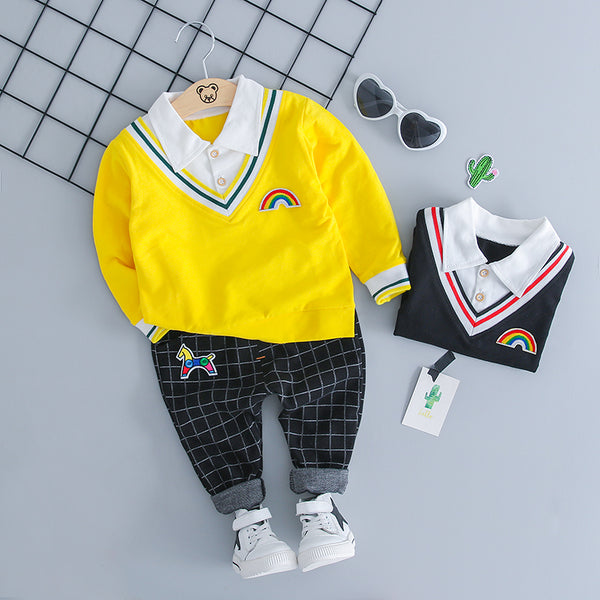 Full Sleeves Polo Tshirt With Plaided Pant Set