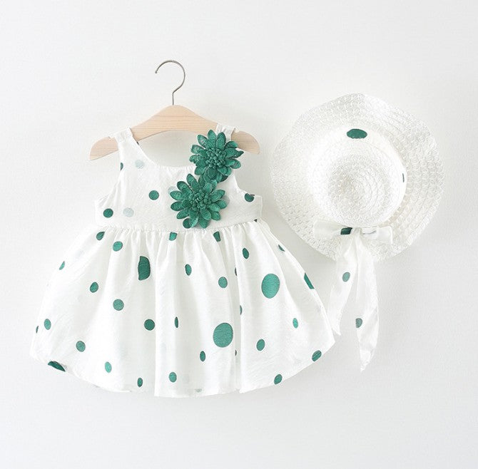 Polka Dot Flower Dress With Hat