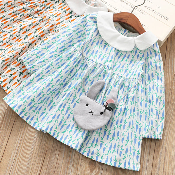 Carrot Printed Dress With Bag