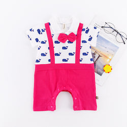 Printed Suspenders Summer Rompers