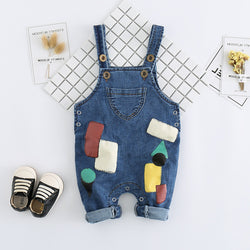 Patches Printed Denim Dungaree