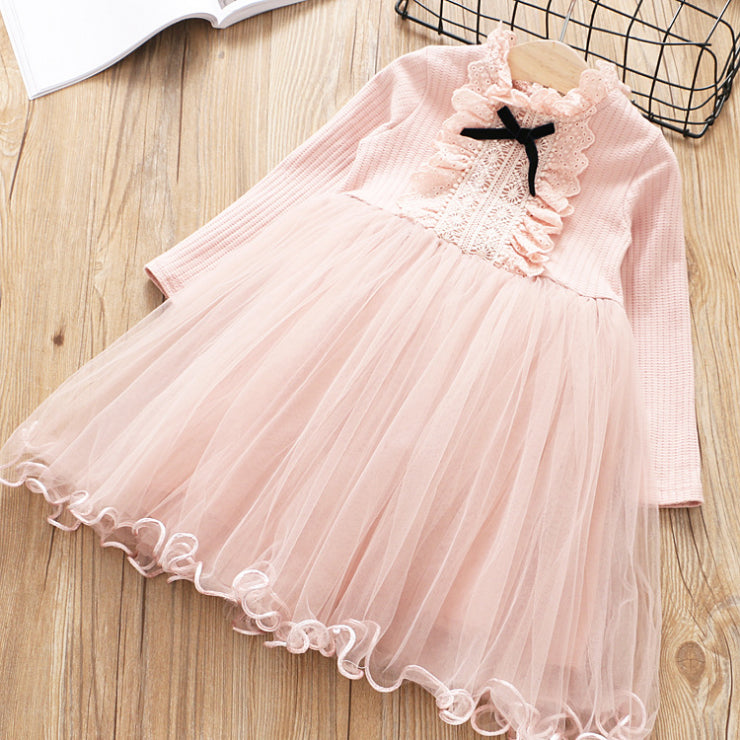 Long Sleeve Bow Tutu Dress for Girls