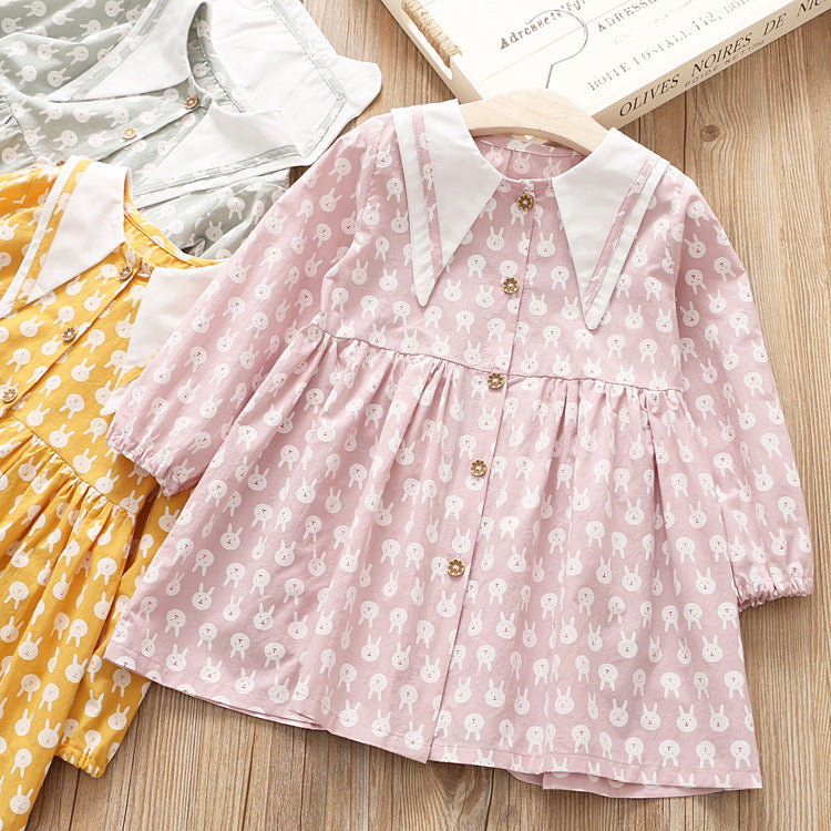 Bear Printed Long Sleeve Dress for Girls