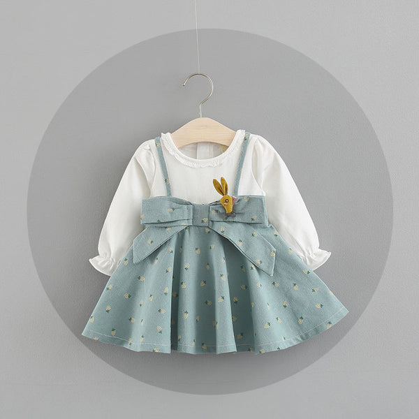Bow Styled Printed Long Sleeves Dress For Baby Girls