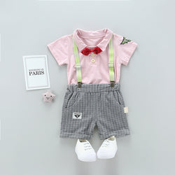 Bow Suspenders Shorts Set
