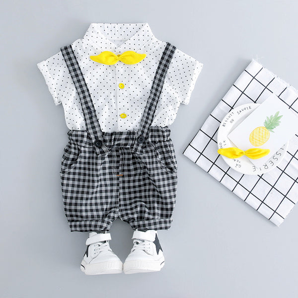Polka Dotted Bow Shirts Plus Plaided Suspenders Set
