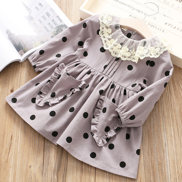 Rabbit Pocket Lace Collar Dress for Girls