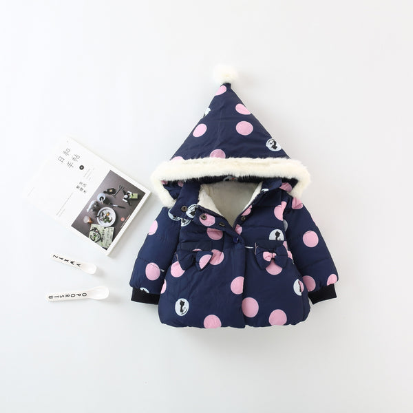 Polka Dots Cat Printed Hooded Jacket