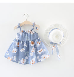 Floral Strap Dress With Hat