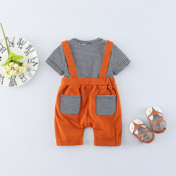Button Eyes Suspenders Rompers