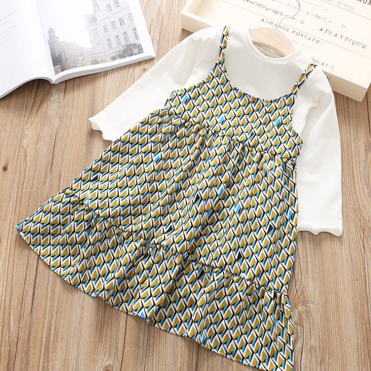 Printed Strap Dress With Tshirt For Girls