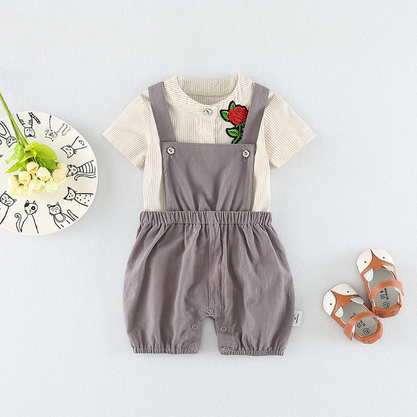 Flowers Suspender Rompers