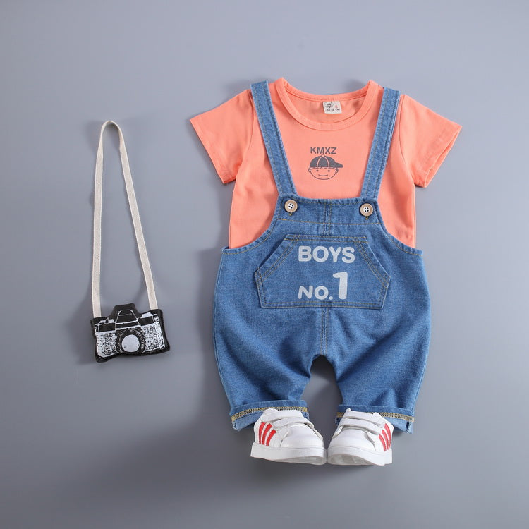 Boys Number One Denim Overall Set