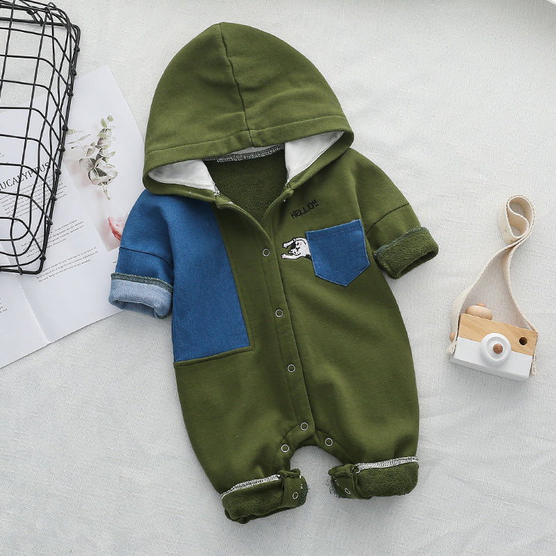 Denim Patch Hooded Jumpsuit