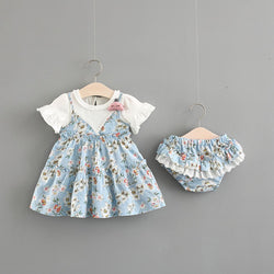 ef423d1b Ruffles Sleeves Floral Dress With Bloomer Set – Baby Monk