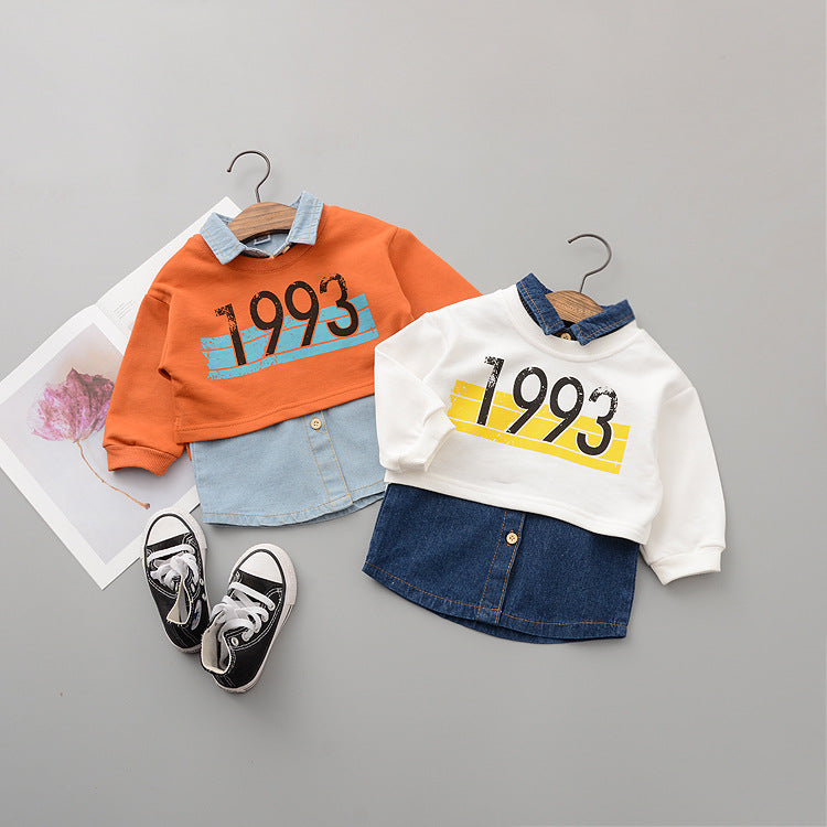 Sleeveless Denim Shirt Plus Cropped Sweatshirt For Baby Girls
