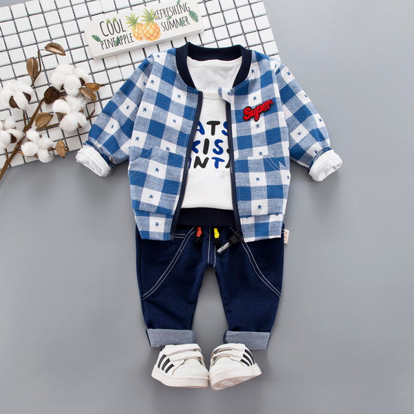 Plaided Jacket Set With Tshirt And Denim