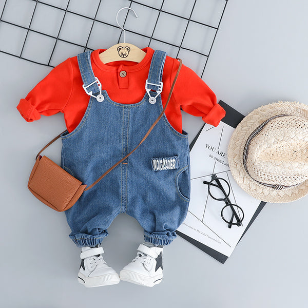 Denim Overall With Tshirt Set