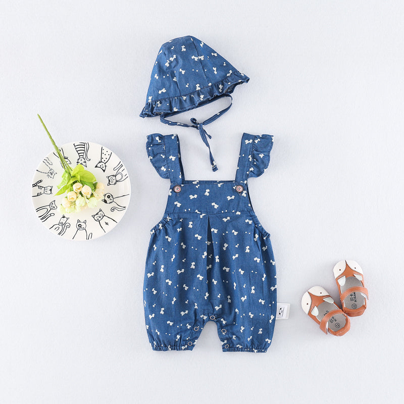 Indigo Printed Baby Girl Jumpsuit With Hat
