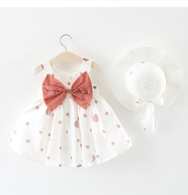 Polka Dot Bow Dress With Hat