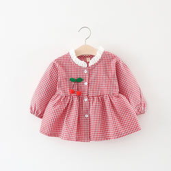 Plaided Buttoned Long Sleeves Dress For Baby Girls