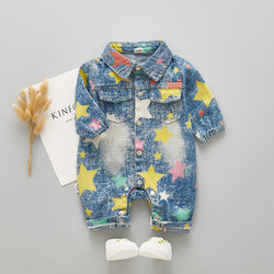 Star Printed Denim Bodysuit