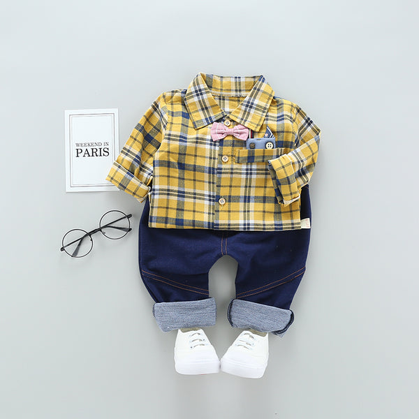 Checks Shirt And Pant Set