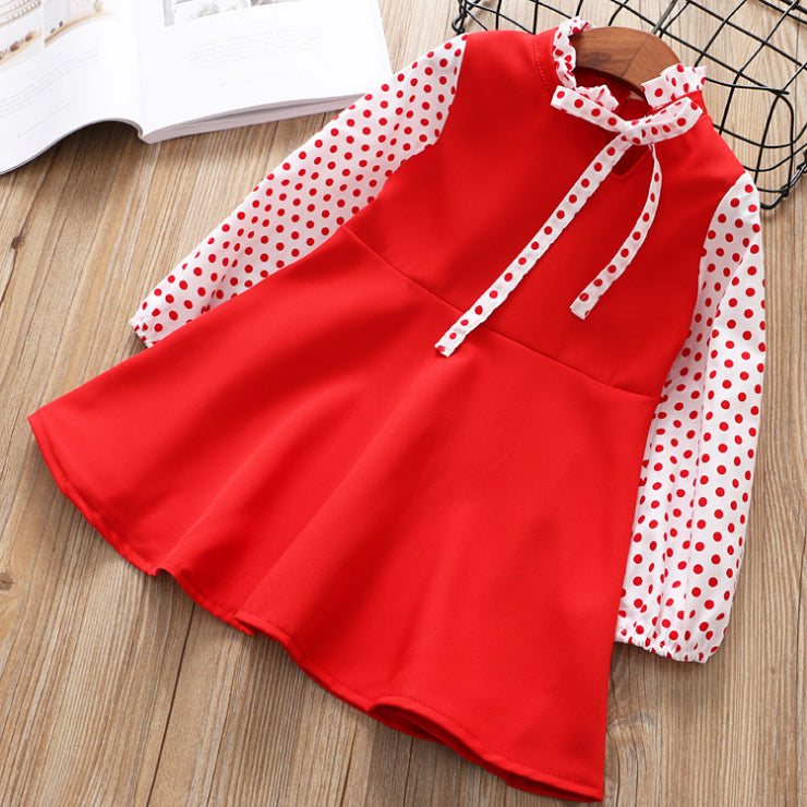 Polka Dot Sleeve Dress For Girls