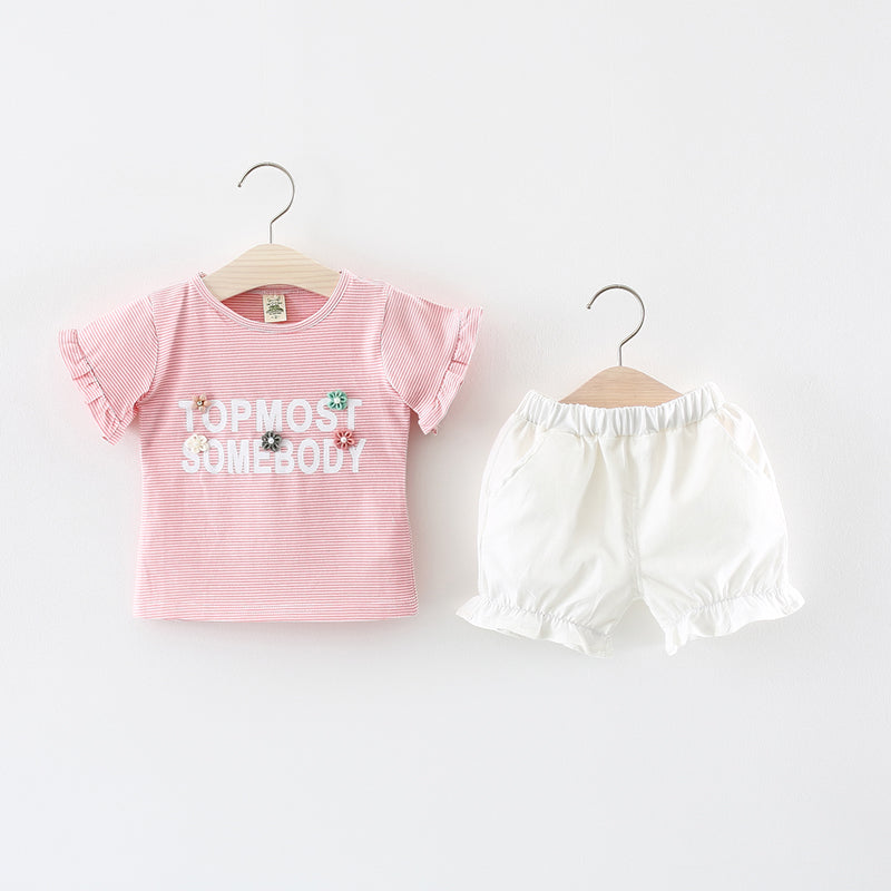Ruffles Sleeves Top Plus Shorts Set For Summers