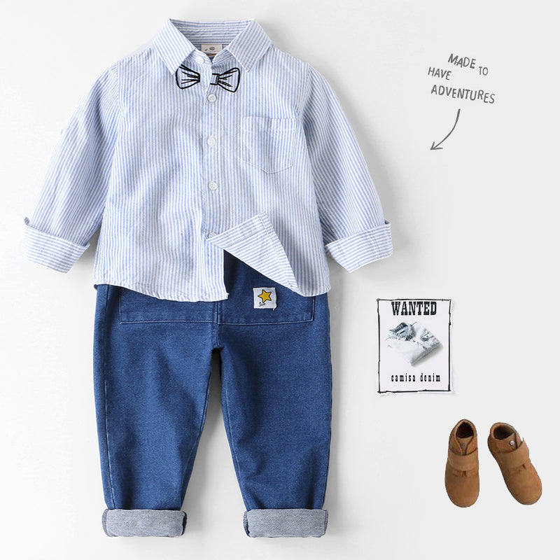 Striped Shirt With Pattern For Boys