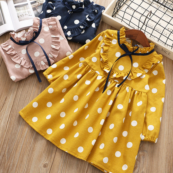 Polka Dots Vintage Dress For Girls