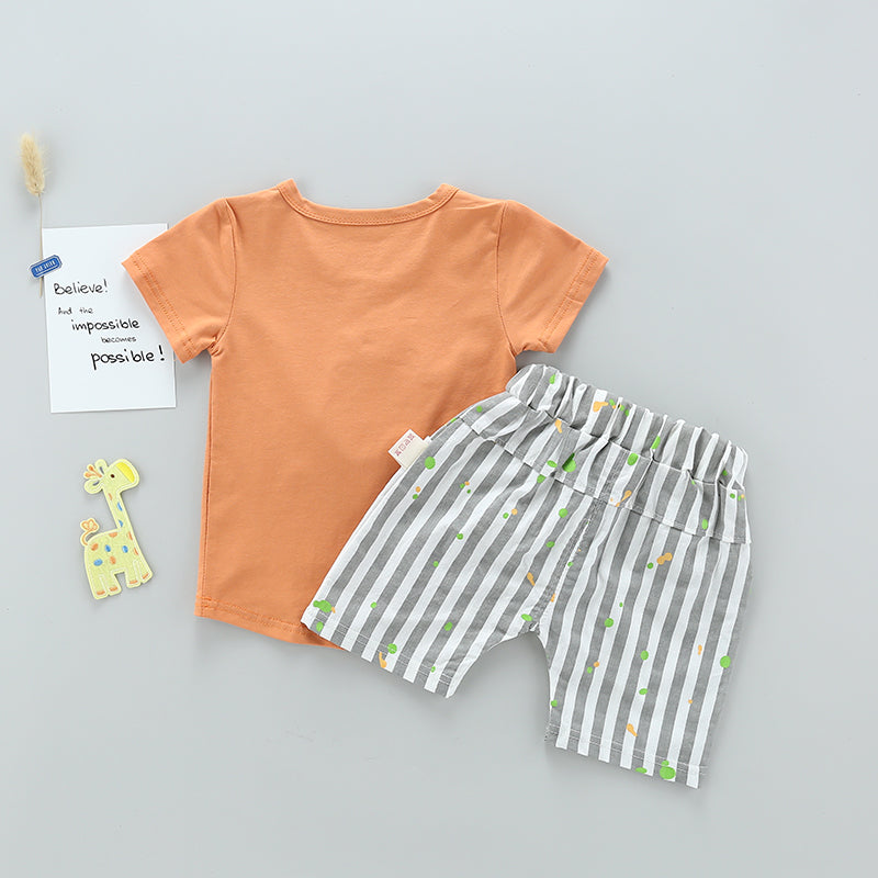 Dinosaur Tee With Striped Shorts Summer Set