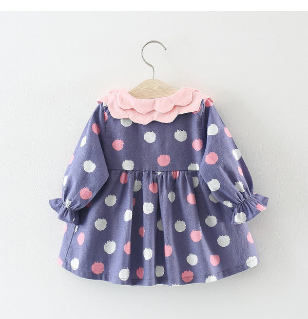 Double Collar Polka Dotted Printed Dress For Baby Girls